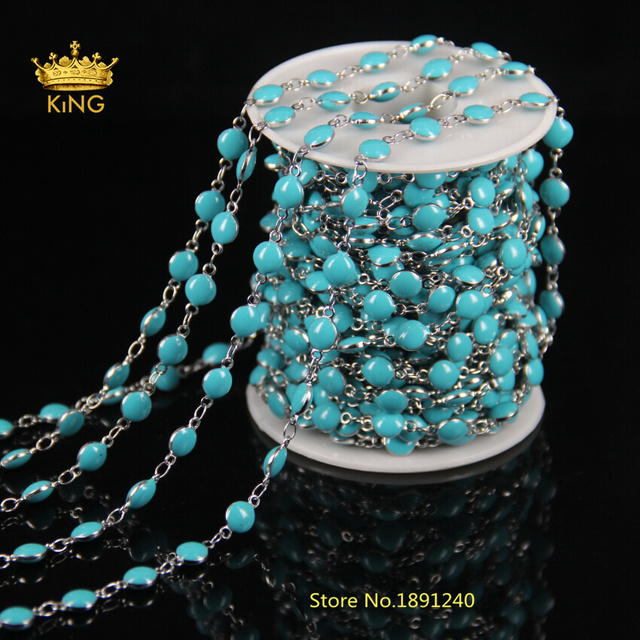 5Meter/Lot Wholesale! 6MM Blue Lampwork Glass Wire Wrapped Bead ...
