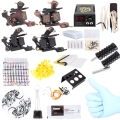 Complete Tattoo Kit Professional 40 Color Inks Power Supply 2 Machine Guns Shader Liner Cheap Tattoo Machines UK Plug Tattoo Set