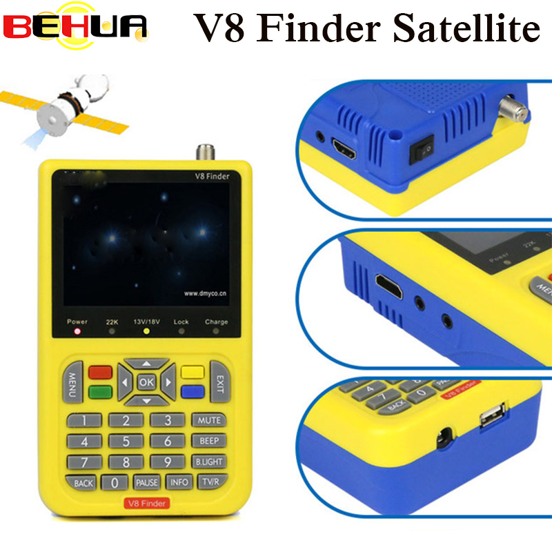 100% Original V8 Finder HD DVB-S2 High Definition Satellite Finder MPEG-2 MPEG-4 satellite Finder TV Receiver Tool For Sat Dish openbox x5 1 2 led high definition satellite tv receiver black eu plug