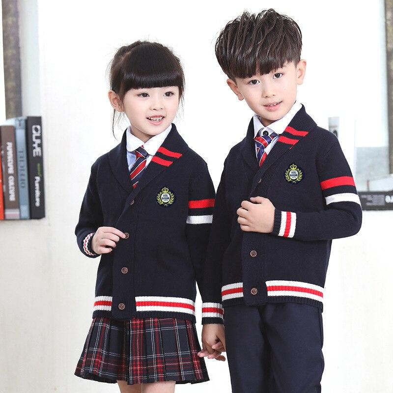 Nouveau automne enfants costumes garçons et filles uniformes scolaires chandail veste étudiant classe service pépinière angleterre