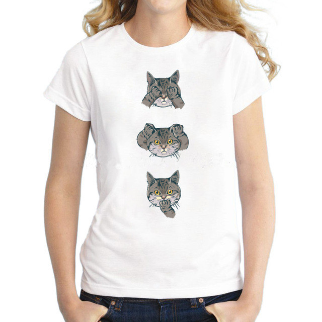 Lasting Charm Cheap No Evil Cat Design Women T-shirt Animal Cat Printed Funny Lady Tops Short Sleeve Novelty Cool Tee For Girl