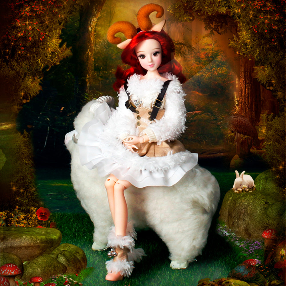 MMG Free shipping Dream Fairy BJD doll 12 constellations Aries with clothes shoes stand 14 joint