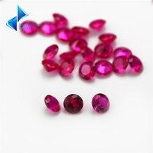 Размер 1 мм ~ 5 # Красный синтетический камень круглой огранки