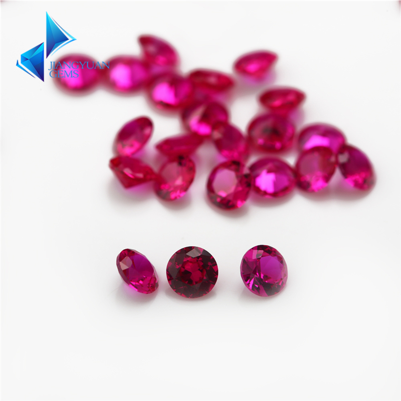 Size 1mm~5mm 5# Red Synthetic Stone Round Cut Synthetic Corundum Stone for Jewelry