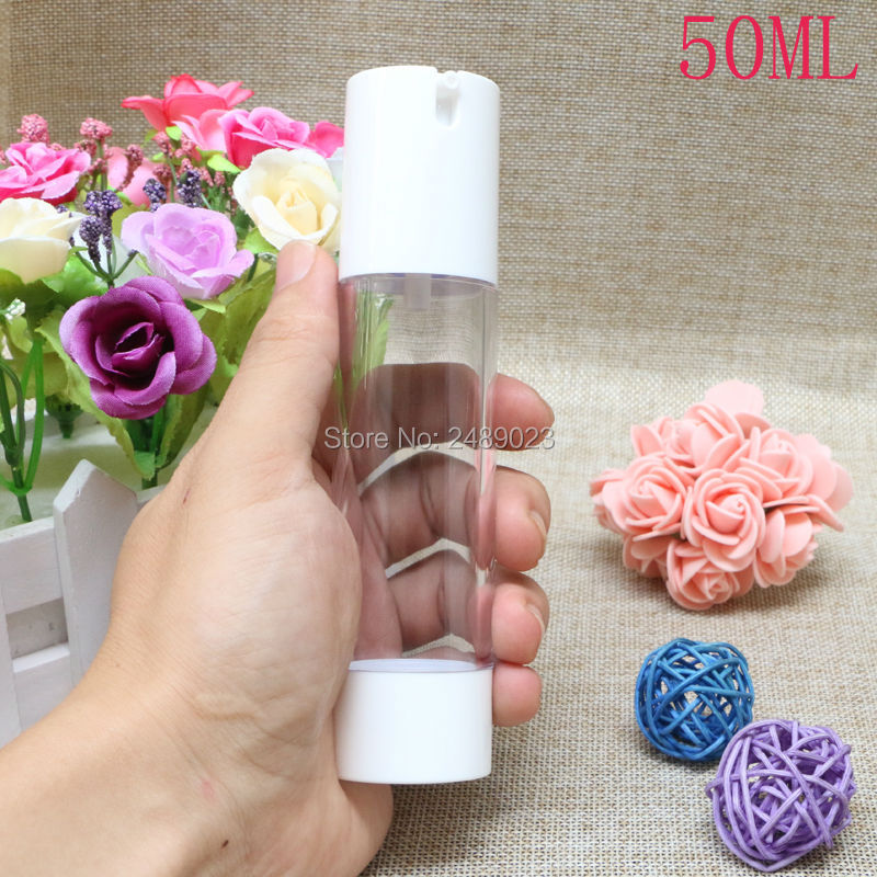 Купить с кэшбэком Mini White Plastic 15ml 30ml 50ml Small Empty Airless Bottle For Make Up And Skin Care Refillable Bottles 10pcs/lot