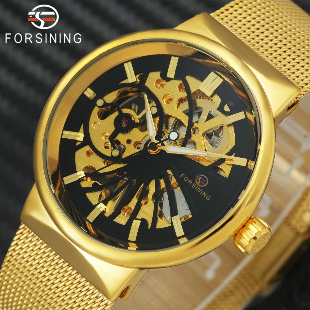 HOT FORSINING Top Brand Luxury Men Mechanical Watch Skeleton Dial Golden Royal Fashion Thin Unisex Mesh SMALL WRIST SIZE WATCHES winner luxury ultra thin golden men auto mechanical watch mesh strap bird pattern skeleton dial top fashion style wristwatch