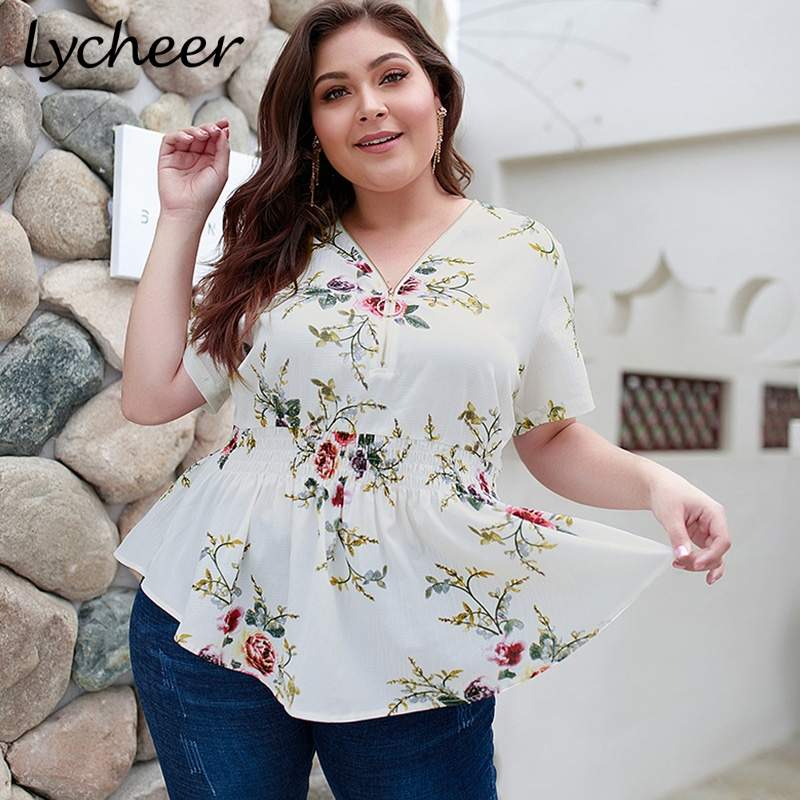 Lycheer Plus Size Bohemian Floral Print Women   Blouse     Shirt   Top Boho High Waist Tops Female Summer Casual Chiffon   Blouse   2019