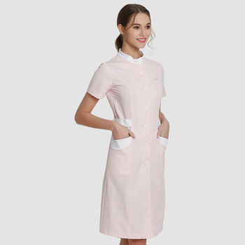 Pink Nurse Dresses Medical Scrub Dress SPA Beautician Work Uniforms Hospital Nursing Stretch Workwear