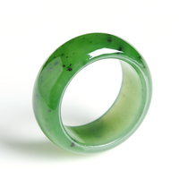 Natural spinach Green yu ring with black dots men and women genuine and Hetian yu ring and Gold Hand Ribbon Certificate