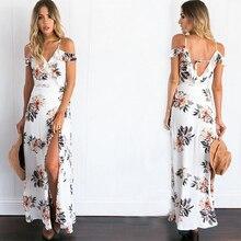 2018 Summer Dress Women Sexy Strap Cold Shoulder Floral Ruffle Long V Neck Split Beach Chiffon Maxi Dresses Vestidos Mujer
