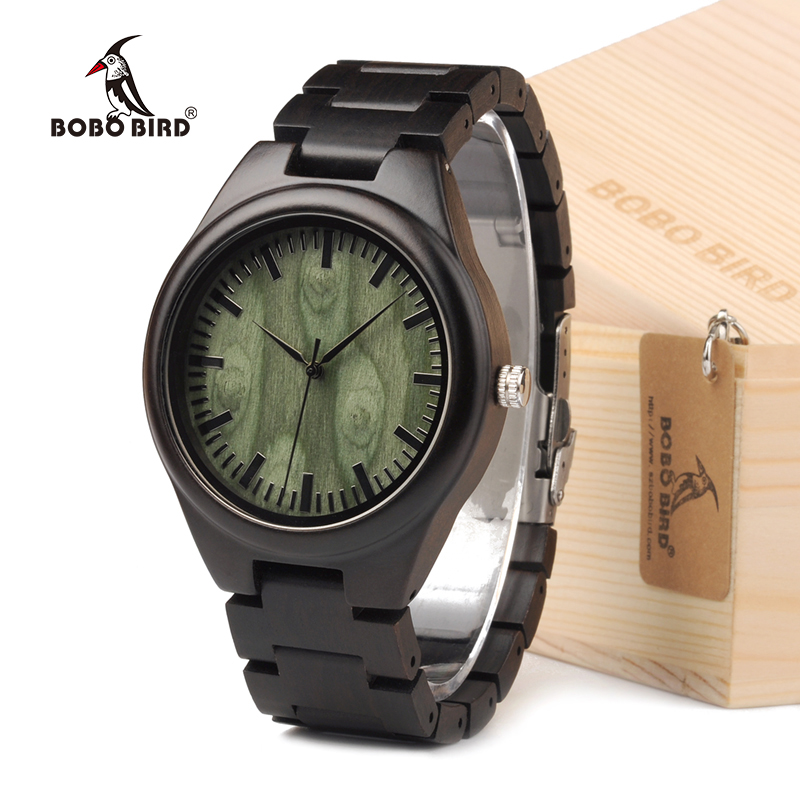 BOBO BIRD H03 Mens Top Brand Design Green Wood Dial Full Bamboo Wooden Watches for Men in Gift Box Dropshipping bobo bird wh05 brand design classic ebony wooden mens watch full wood strap quartz watches lightweight gift for men in wood box
