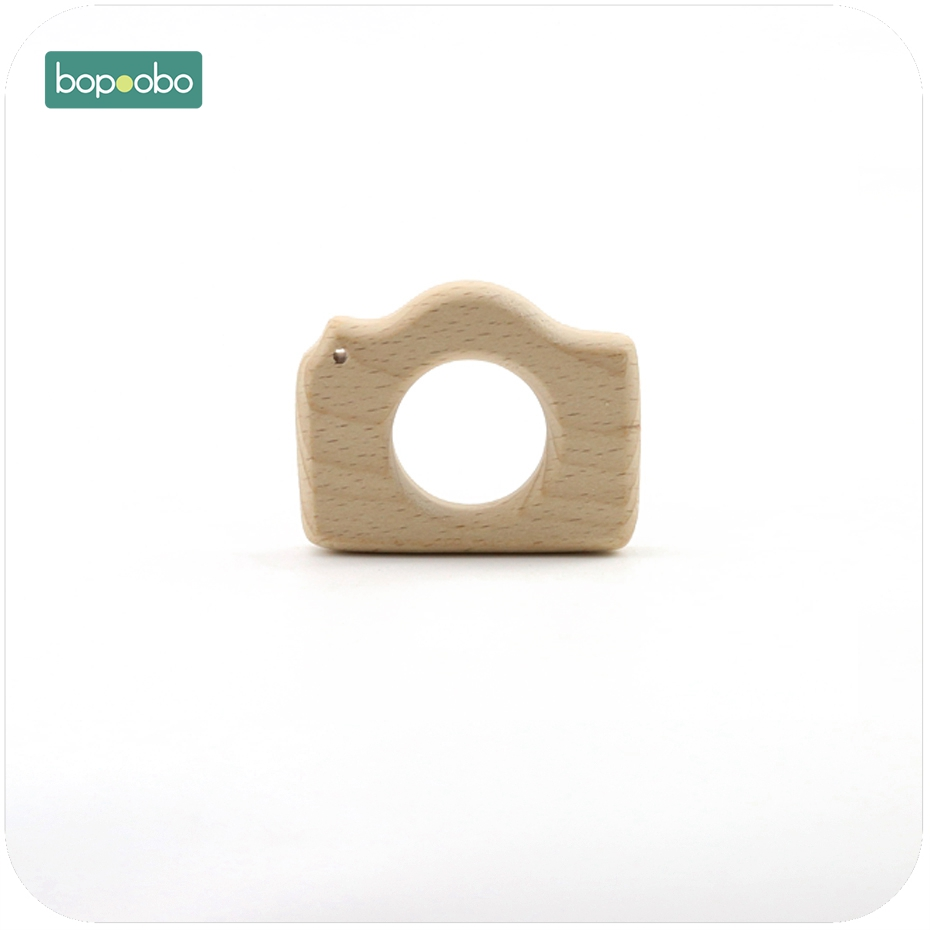 Bopoobo Baby DIY Jewelry Chew Wooden Camera 1pc Beech Wood Sensory Toy Teething Accessories Nursing Necklace Baby Teether