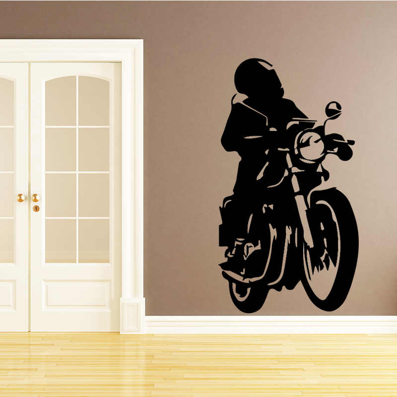 detail feedback questions about motorcycle man wall stickers