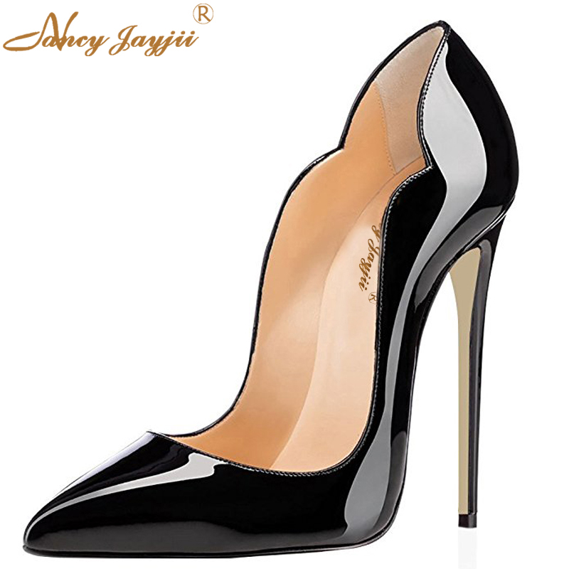 Sexy Super Waves Edge Shoes Black Hot Pink Grey Woman Thin High Heels Pumps Fetish Shoes Women Pointy Toe Party Stiletto Shoes