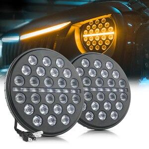 Image 1 - Светодиодный рабочий светильник MICTUNING, 2 шт., 7 дюймов, 80 Вт, ДХО, дневные ходовые огни, световой поток, янтарный сигнал поворота для J eep Wrangler