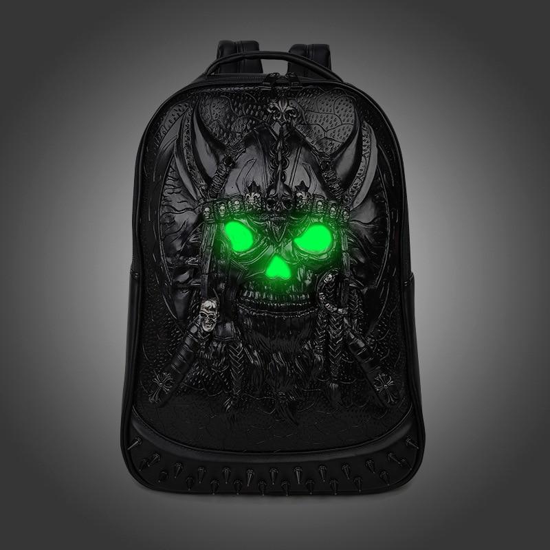 2017 Brand 3D Skull Head Design PU Leather Backpacks Men and Women Bags Rivet Computer Bags