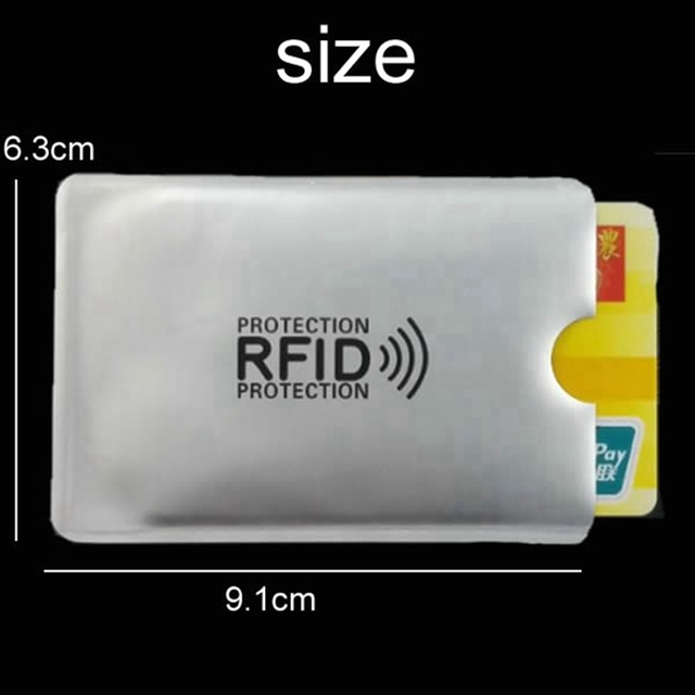 Anti Rfid Wallet Blocking Reader Lock Bank Card Holder Id Bank Card Case Protection Metal Credit NFC Holder Aluminium 6*9.3cm 2