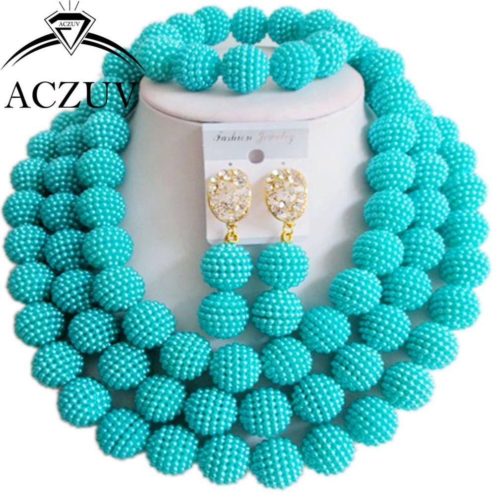 Brand Aczuv 18inches Women African Necklace Beads Set Teal Green Plast Pearl  Costume Jewelry For Wedding