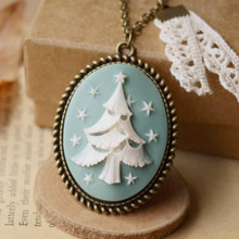 Flyleaf Handmade retro Christmas tree necklace for women lace long Necklaces & Pendants 2015 vintage jewelry Christmas gift