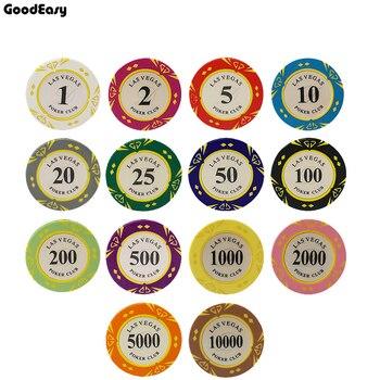 5pcs/lot Clay Las Vegas Poker Chips 14g Set Casino Coins 40mm Coin Poker Chips Entertainment Dollar Coins card game LasVegas