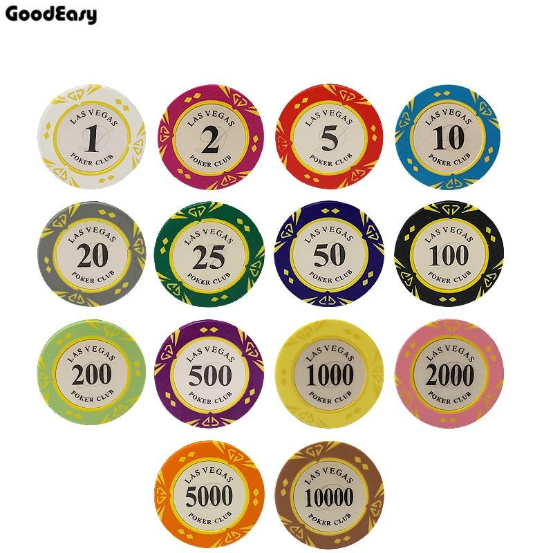 Clay Las Vegas Poker Chips 14g Set Casino Coins 40mm Coin Poker Chips Entertainment Dollar Coins Card Game 5pcs/lot LasVegas