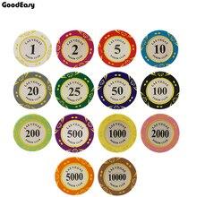 Clay Las Vegas Poker Chips 14g conjunto Casino monedas 40mm moneda fichas de Poker de entretenimiento monedas de dólar de la tarjeta de juego 5 unids/lote Las Vegas