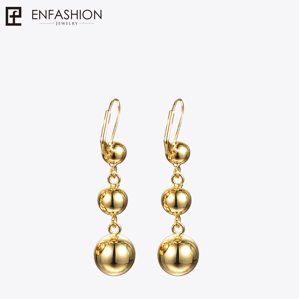Enfashion Triple Dot Ball Drop Earrings Rose Gold color Long Earring Dangle Earrings For Women Earings Jewelry Wholesale Brincos