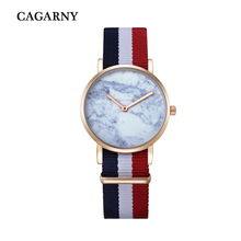 Cagarny Fabric Bracelet Watch Women Fashion Women's Watches Quartz Wristwatch Imitation Marble Pattern Relogio Feminino WD6812