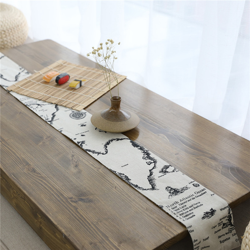 Vintage Natural Table Runner Linen Modern Solid Tea Table Cover Bed Flannel Tablecloth For Dining Room Home Decor Wedding Party