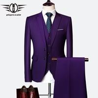 Purple Suits For Men 2019 Slim Fit Latest Groom Suits Costume Homme Mariage 6XL Suit Dress Men Black Sky Blue Gray Yellow Q63