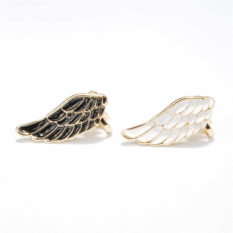 1bc345f32b58e 2018 Exaggerated Angle wings ear cuff protein drill ear bone clip double  without pierced ear clips shiny