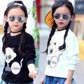 Sportswear de Manga comprida T-Shirts Para Crianças Meninas de Algodão Dos Desenhos Animados Meninas Da Escola Tees Crianças Hoodies Meninas Adolescentes Tops 6 7 9 11 13Y
