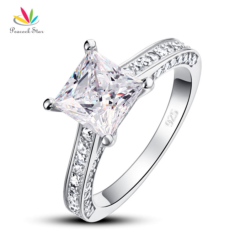 Drop Shipping Free 1 5 Carat Princess Cut Simulated Diamond 925 Sterling Silver Wedding Engagement Ring