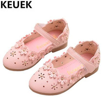NEW Spring/Autumn Children Leather Shoes Girls Princess Fashion Flowers Cut-Outs Soft bottom Toddler Baby Shoes Kids Flats 044