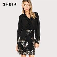 SHEIN noir voir à travers Wrap Floral Sequin corsage robe de soirée femmes 2019 printemps col en V à manches longues gaine mince robes élégantes