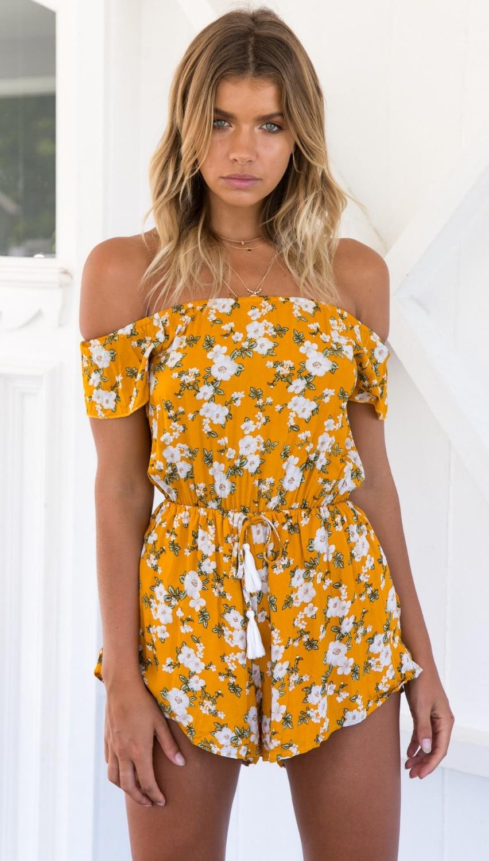 colourfull printed flower Bohemian playsuits 2018 summer off shoulder slash neck casual Vintage Short Rompers Womens Jumpsuit