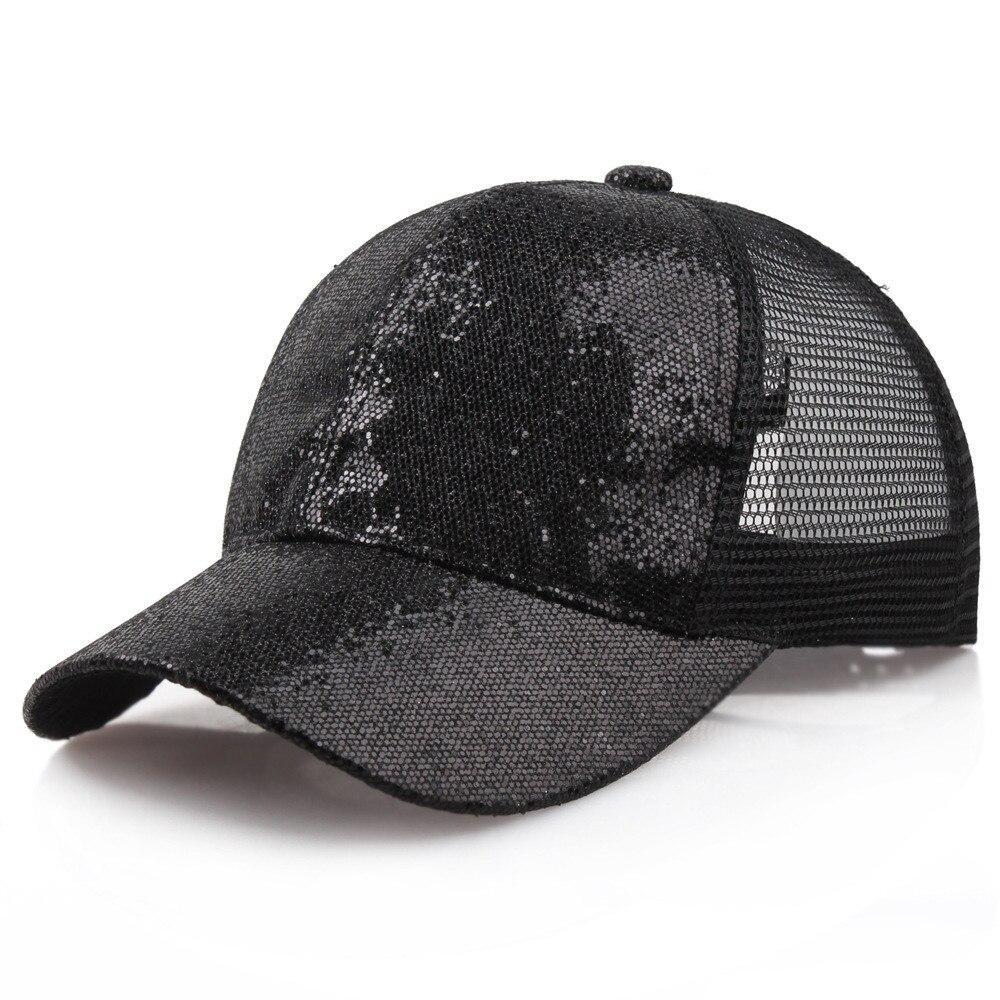 Блестящая бейсбольная кепка с хвостом, женский рюкзак, грязная летняя шапка, Женская регулируемая бейсболка, шляпы в стиле хип-хоп, новая мода - Цвет: BK