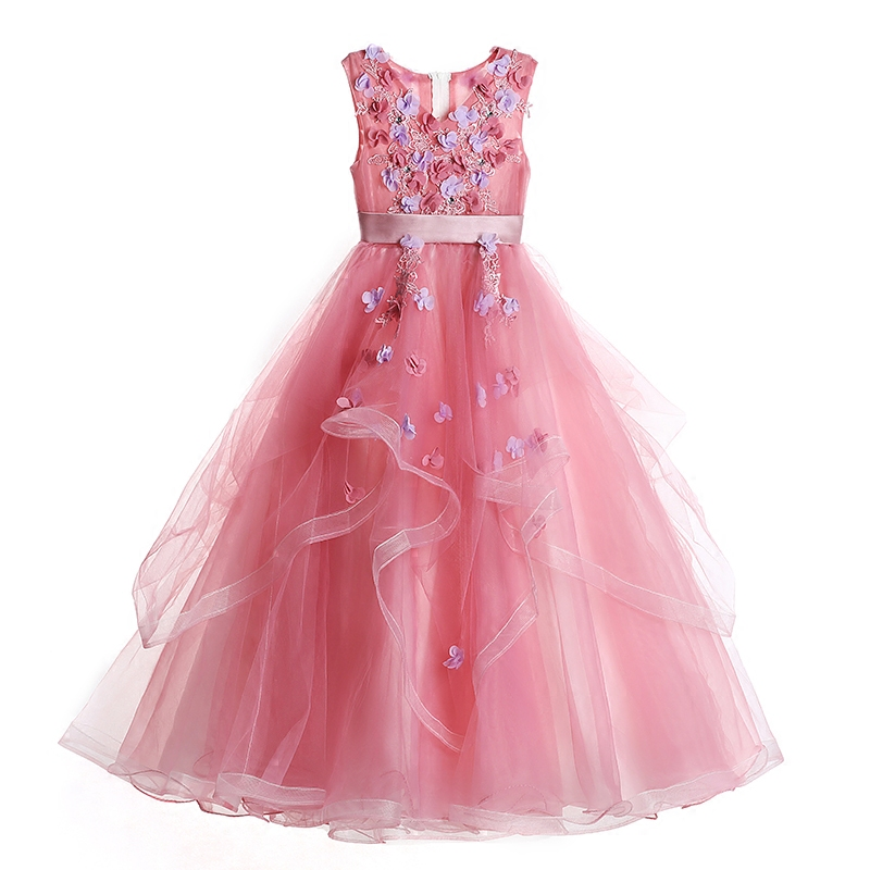 2018 New Girl Princess Dress Kids Pageant Party Long Dress Girls 3D Flower Clothes Ball Gown Wedding First Communion Dresses E86 kids girls flower dress baby girl butterfly birthday party dresses children fancy princess ball gown wedding clothes