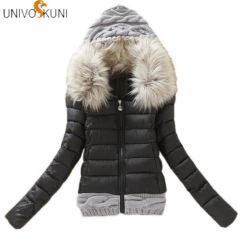 Suit Coat Parkas Stitching Hooded Fur-Collar Winter Fashion Cotton Women's Short-Out