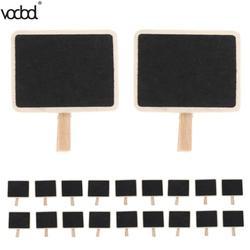 20 pçs mini pequeno de madeira giz blackboard retangle casamento restaurante sinais blackboard clip tag festa decoração da escola suprimentos