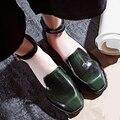 Zapatos de las mujeres Solteras Verde Retro Zapatos Casuales 2016 de La Nueva Manera Hebillas de Diseño de tobillo Dedo Del Pie Cuadrado de Tacón Bajo Square Vestido Femenino zapatos