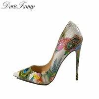 נעלי אישה 2017 עקבים גבוהים סקסיים בנות DorisFanny מודפס צבעים רב 12-10-8cm נעלי עקב נעלי חתונה