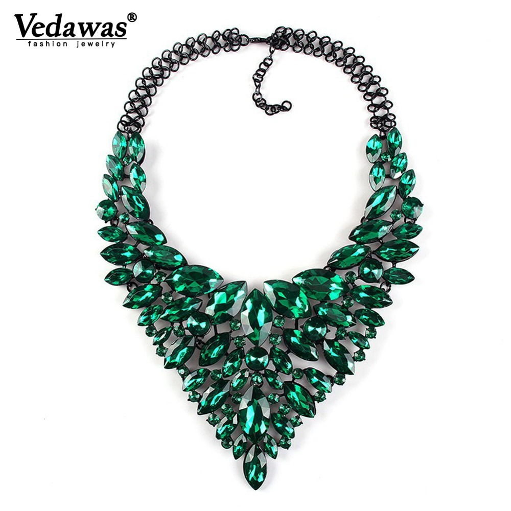 2019 New Fashion Women Jewelry Rhinestone Beads Collar Pendant Choker Necklace Colorful Crystal Statement Necklace for Women xg9