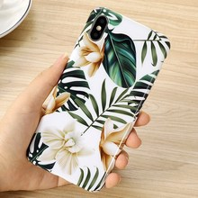 Summer pretty art flowers case for iphone 8 plus plants leaves floral matte soft phone cases for iphone7 6 6s plus 8 xr x xs max все цены