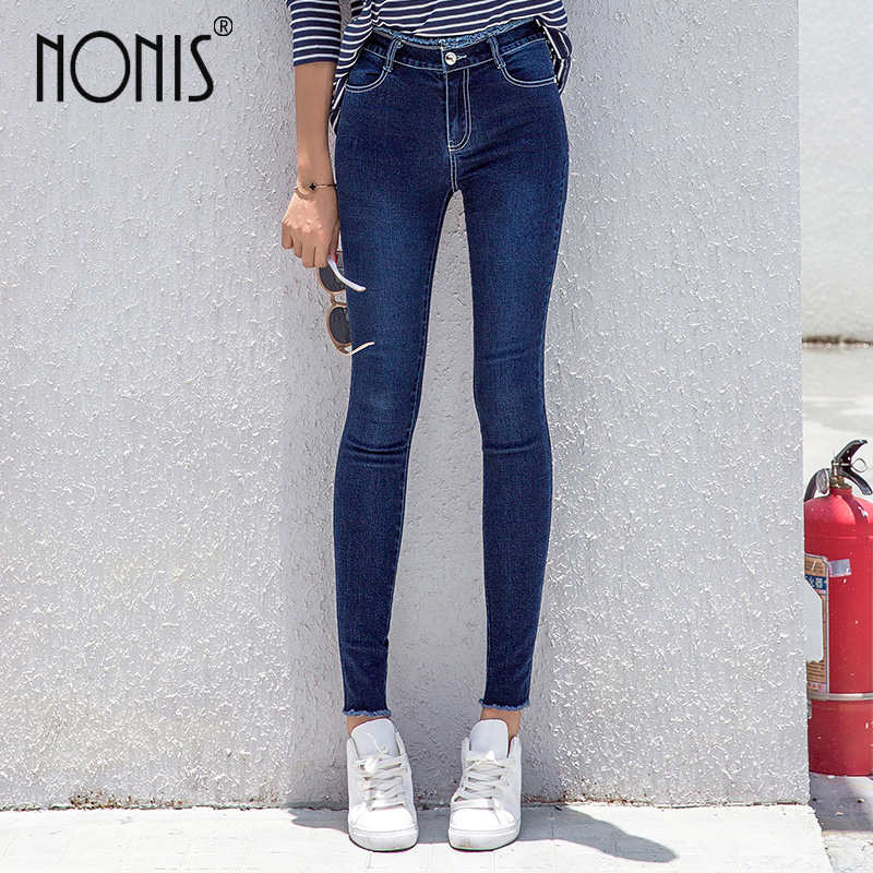 Nonis 2017 Fall New Women Mid waist Jeans High Stretch Slim Pencil Pants Fashion Female Jeans Lady Skinny Legging Capris rosicil new women jeans low waist stretch ankle length slim pencil pants fashion female jeans plus size jeans femme 2017 tsl049