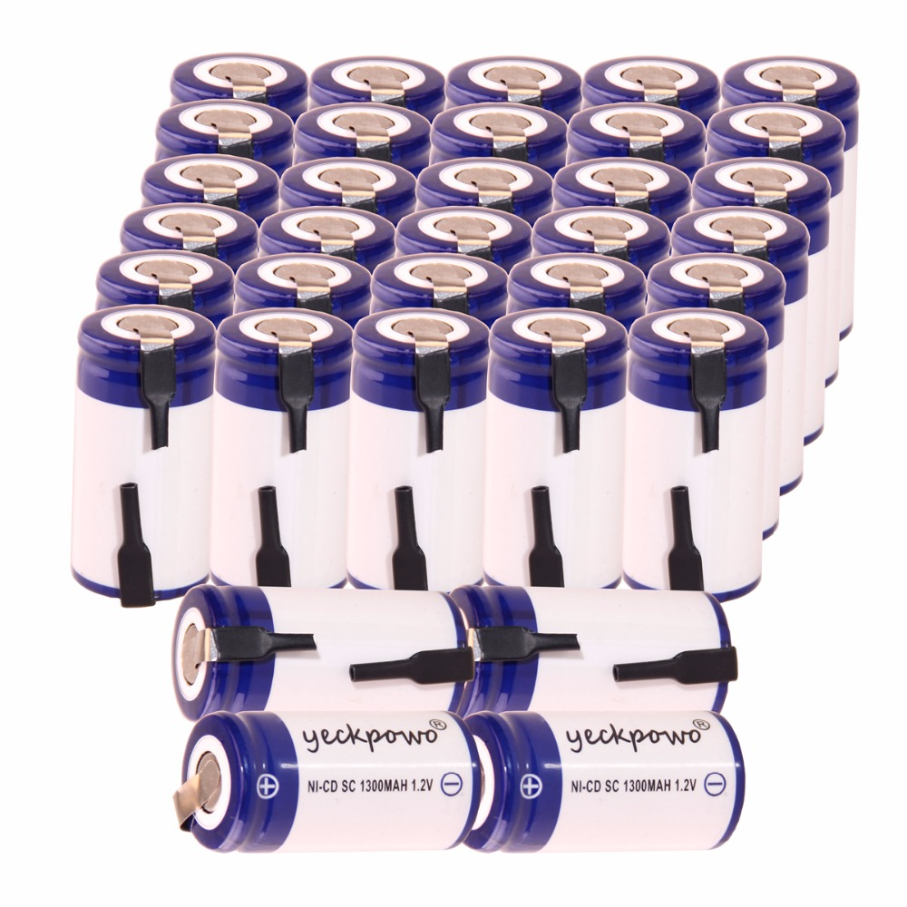 Yeckpowo 34 Pcs Sc 1300mah 1 2v Battery Nicd Rechargeable