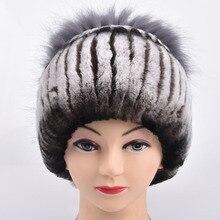 Зима меховая шапка женщин реального рекс кролика меховая шапка с серебром лисий мех цветок вязаная шапка новый продажи высокого класса женщин меха Цветы cap