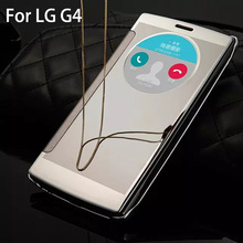 Electroplated Mirror Hard Clear Transparent Case For LG G4 Flip Smart Clock Window Cover Phone Case Ultra Thin PC+PU leather