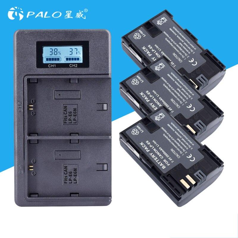 3 pcs LP-E6 LP E6 Caméra Batterie + LCD USB Chargeur Pour Canon EOS 5DS R 5D Mark II 5D mark III 6D 7D 60D 60Da 70D 80D DSLR EOS 5DS