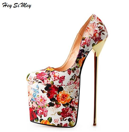 HeySiMey New Women Shoes Drag Queen CD Size 40-50 High 22cm high-end soft Cross-Dressing Thin Metal with Round Super High Heel HeySiMey New Women Shoes Drag Queen CD Size 40-50 High 22cm high-end soft Cross-Dressing Thin Metal with Round Super High Heel